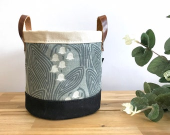 Ready to Ship - Lily of the Valley Fabric Bin - May Birth Month - Screen Printed Fabric Bucket - Gift for May - Floral