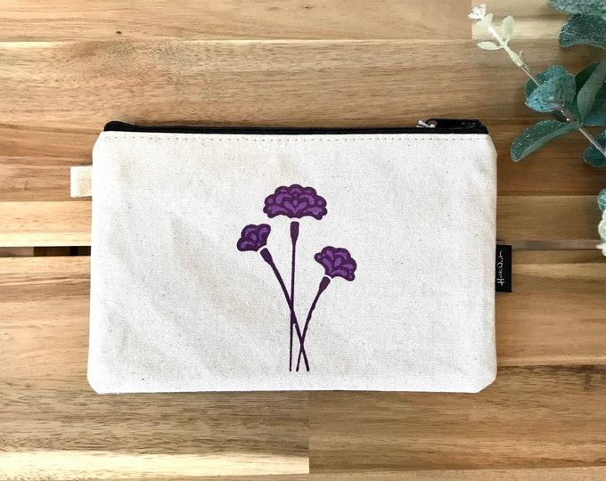 "8.5"" Carnation Motif Zipper Pouch - Zipper Wallet - Screen Printed - Pencil Pouch - January Birth Flower"
