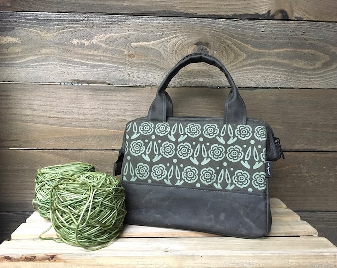 Green Block Flower Waxed Canvas Project Bag / Cosmetic Bag