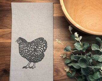 Ready to Ship - Chicken Hand Printed Tea Towel - Cotton - Gray - Housewarming Gift - Hand Towel - Farm Animal - Screen Printed