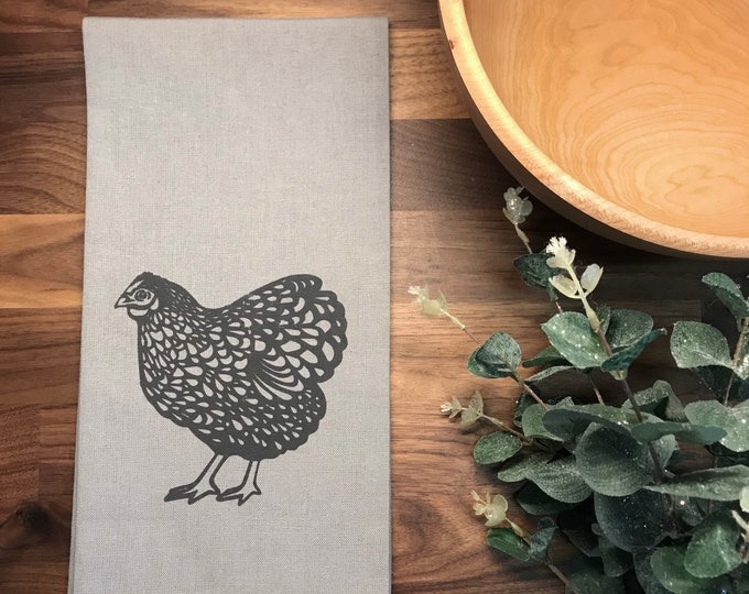 Ready to Ship - Chicken Hand Printed Tea Towel - Cotton - Gray - Housewarming Gift - Hand Towel - Farm Animal - Screen Printed