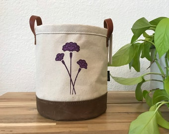 Ready to Ship - Carnation Motif Fabric Bin - January Birth Month - Screen Printed Fabric Bucket - Gift for January