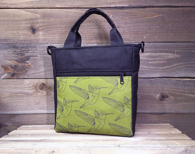 Olive Green Hummingbird Waxed Canvas Tote Bag