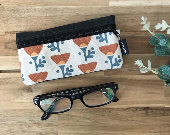 Ready to Ship - California Poppy Eyeglass Case - Eyeglass Holder - Screen Printed - Poppy - Glasses Case
