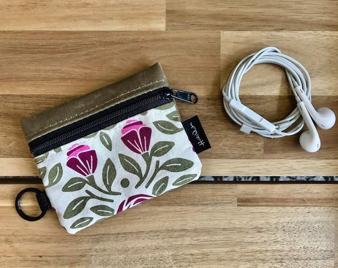 Mini Pouch - Portland Roses Zipper Pouch - Zipper Wallet - Screen Printed - Earbud Pouch