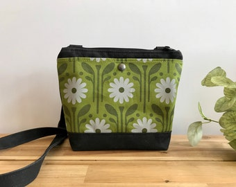 Waxed Canvas Purse - Green Daisy Pattern Bag - Cross Body Messenger Purse - Screen Printed Bag - Water Resistant