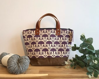 Ready to Ship - Waxed Canvas Project Bag - Screen Printed - Carnation Flower Print - Yarn Bag - Crochet Bag - January
