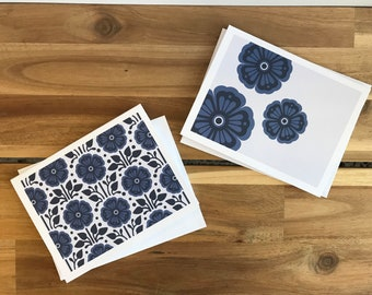 Violet Greeting Cards - A2 - Set of 6 Blank Notecards - Flowers
