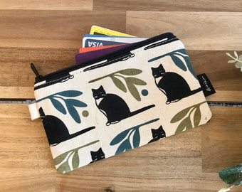 Ready to Ship - Tuxedo Cat Zipper Pouch - Zipper Wallet - Screen Printed - Sewing - Off White Zipper Pouch