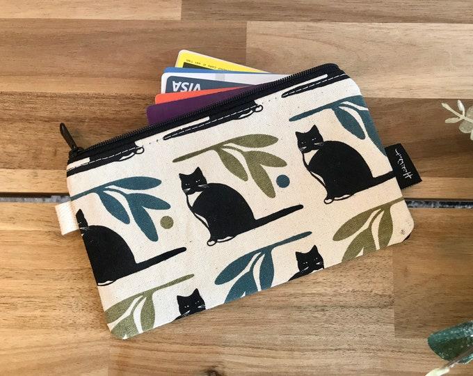 Ready to Ship - Tuxedo Cat Zipper Pouch - Zipper Wallet - Screen Printed - Sewing - Off White Zipper Pouch
