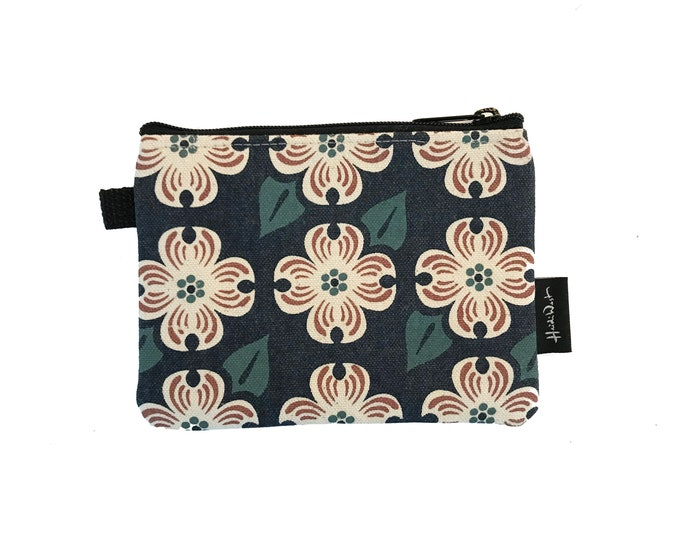 Ready to Ship - Dogwood Zipper Pouch - Zipper Wallet - Screen Printed - Dogwood Flower - Navy Blue Zipper Pouch