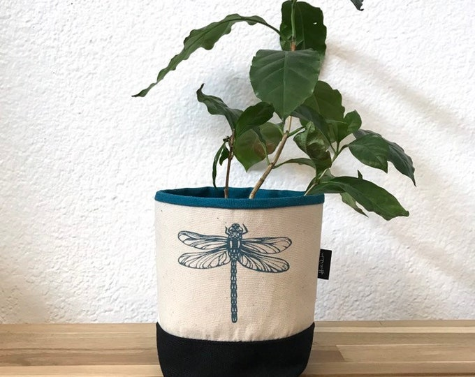 Ready to Ship - Off White and Teal Dragonfly Fabric Bin - Soft Pot - Canvas Bin - Screen Printed Fabric Bin / Soft Pot - 4 inch