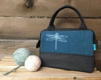Teal Dragonfly Waxed Canvas Project Bag / Cosmetic Bag