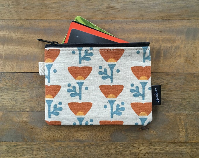 California Poppy Credit Card Zipper Pouch