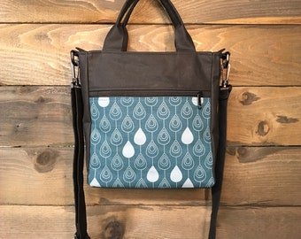 Teal Raindrop Waxed Canvas Tote Bag