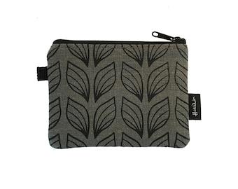 Gray Leaf Credit Card Zipper Pouch