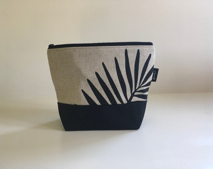 Palm Leaf Zipper Pouch - Waxed Canvas - Cosmetic Bag - Screen Printed - Hand Printed - Accessory Bag - Birthday Gift