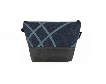 Blue Ripple Waxed Canvas Zipper Pouch