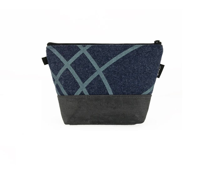 Blue Ripple Waxed Canvas Zipper Pouch