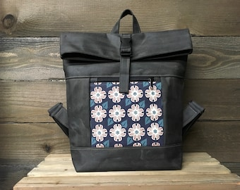 Dogwood Flower Waxed Canvas Rolltop Backpack