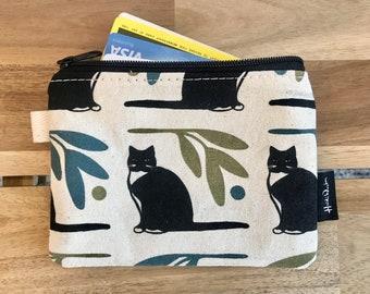 Off White Tuxedo Cat Credit Card Zipper Pouch
