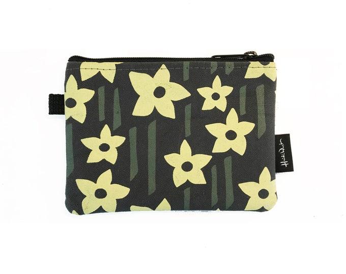 Charcoal Gray Daffodil Credit Card Zipper Pouch