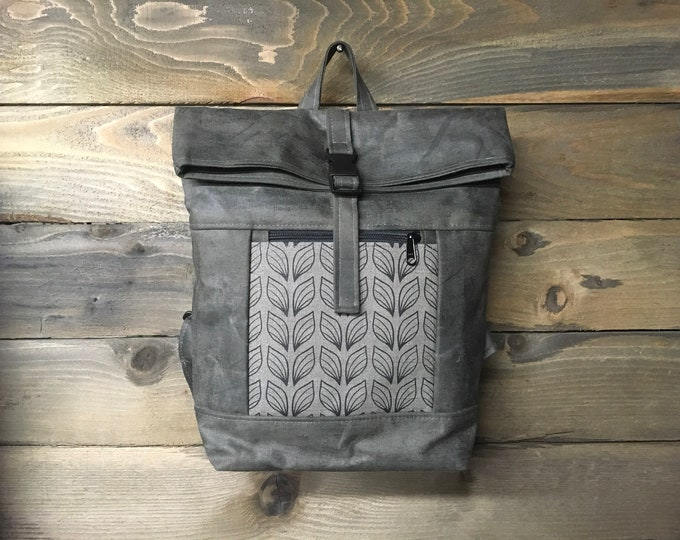 Gray Leaf Pattern Waxed Canvas Rolltop Backpack