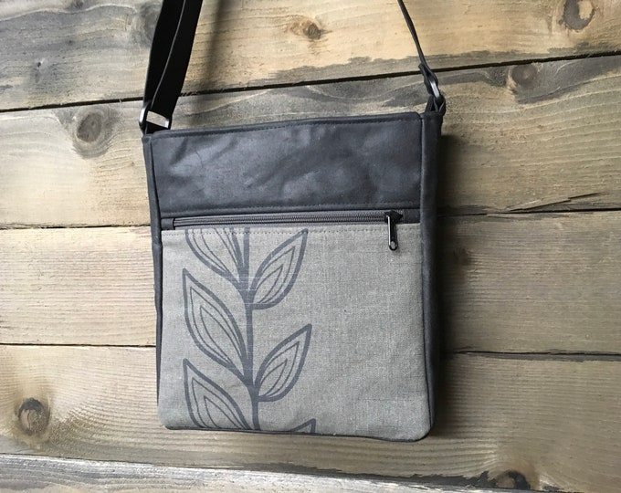 Gray Continuous Leaf Large Waxed Canvas Cross-Body Bag