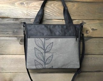 Gray Continuous Leaf Extra Large Waxed Canvas Tote Bag