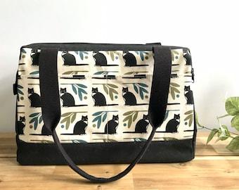 Waxed Canvas Project Bag - Black Tuxedo Cat Pattern - Knitting Bag - Screen Printed Bag - Crochet Bag -Sweater Project Bag