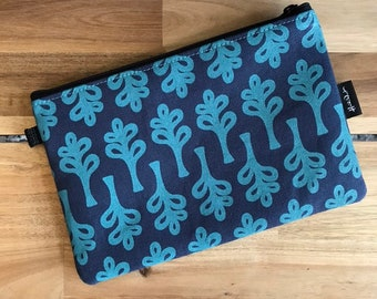 "8.5"" Curly Tree Zipper Pouch - Zipper Wallet - Screen Printed - Tree Print - Navy Blue and Teal Zipper Pouch"