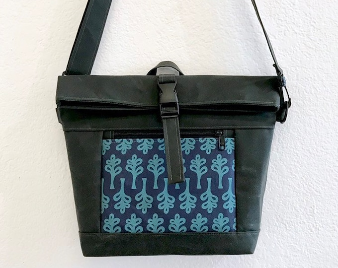 Waxed Canvas Cross Body Rolltop Purse - Messenger Bag - Canvas Bag - Screen Printed - Curly Tree Print - Water Resistant - Project Bag