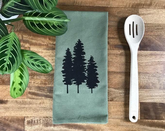 Green Fir Tree Hand Printed Tea Towel