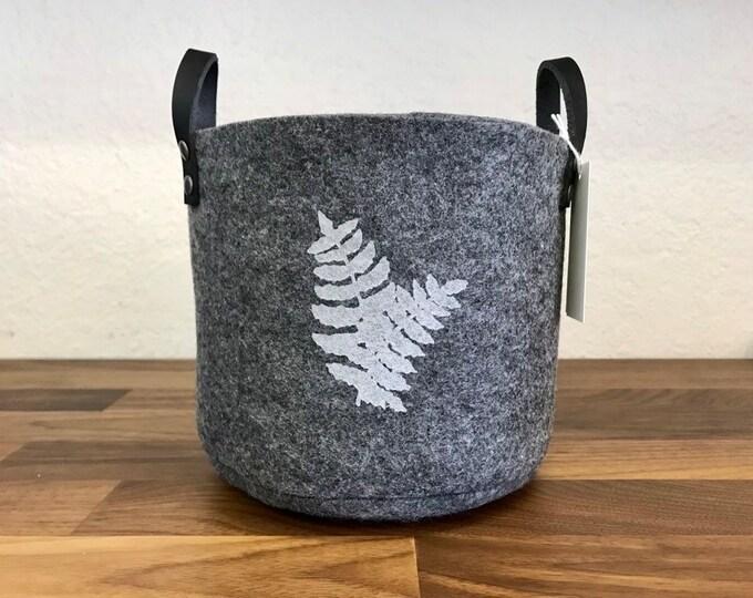 Ready to Ship - Charcoal Gray Felt Fabric Bin with Ferns - Felt Basket - Screen Printed Fern Fabric Bucket