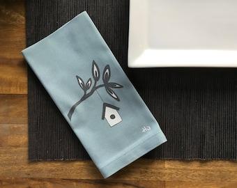 Light Blue Birdhouse Cotton Napkins