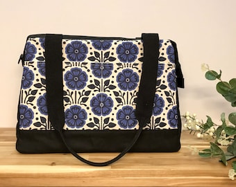 Made to Order - Waxed Canvas Project Bag - Violet Pattern - Knitting Bag - Screen Printed Bag - Crochet Bag -Sweater Project Bag