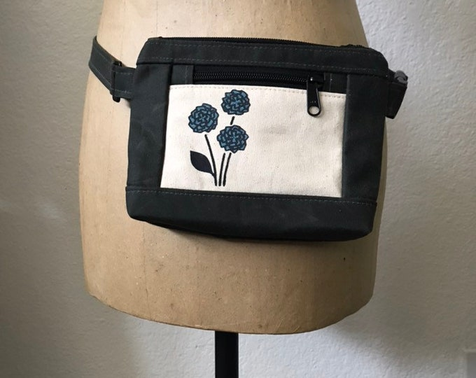 Waxed Canvas Hip Bag - Fanny Pack - Canvas Bag - Cross Body Sling Pouch - Screen Printed - Off White Hydrangea Bag - Water Resistant