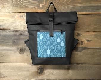 Teal Raindrop Waxed Canvas Rolltop Backpack