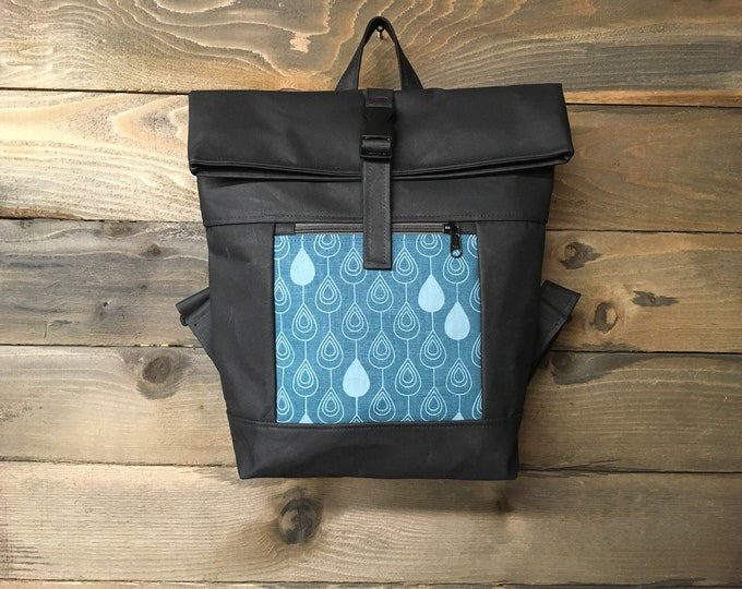 Teal Raindrop Waxed Canvas Rolltop Backpack
