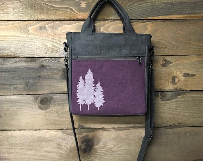 Deep Purple Fir Trees Waxed Canvas Tote Bag