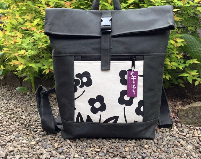 Off White and Black Flower Waxed Canvas Rolltop Backpack