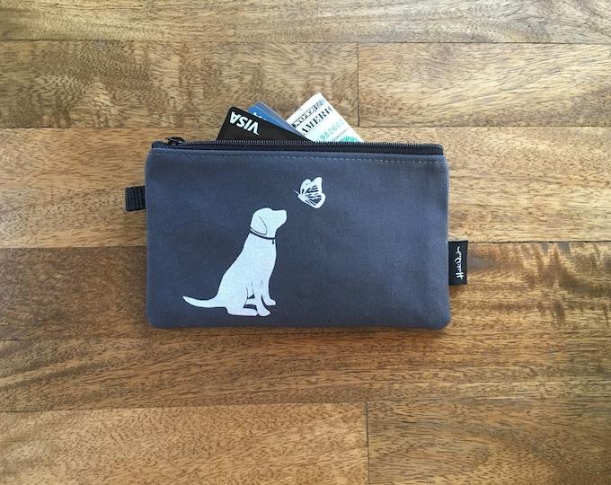 Large Dog and Butterfly Zipper Pouch - Zipper Wallet - Screen Printed - Charcoal Gray Zipper Pouch