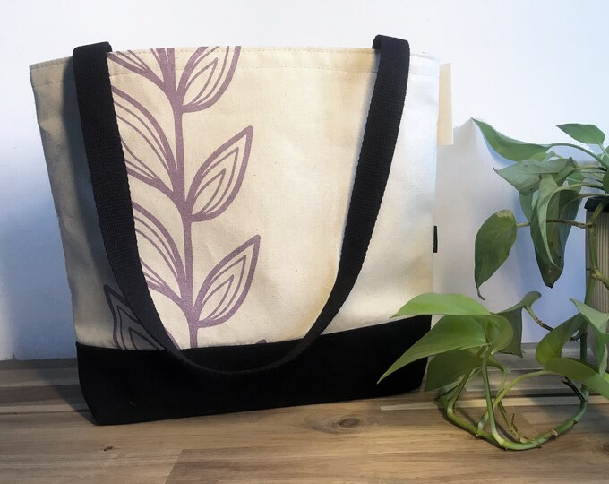 Ready to Ship - Tote Book Bag - Canvas Tote - Screen Printed Bag - Natural/Purple Continuous Leaf Bag