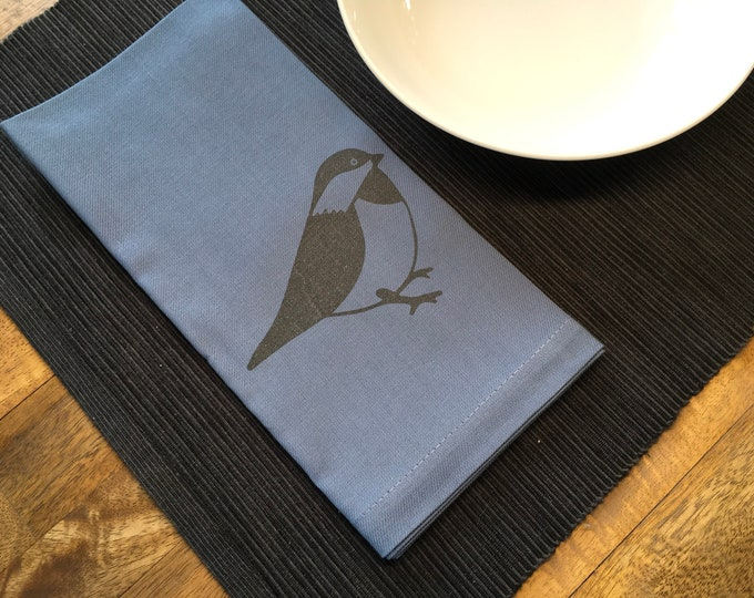 Smoke Blue Chickadee Cotton Napkins