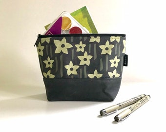 Gray Daffodil Waxed Canvas Zipper Pouch