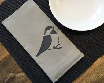 Taupe Chickadee Cotton Napkins