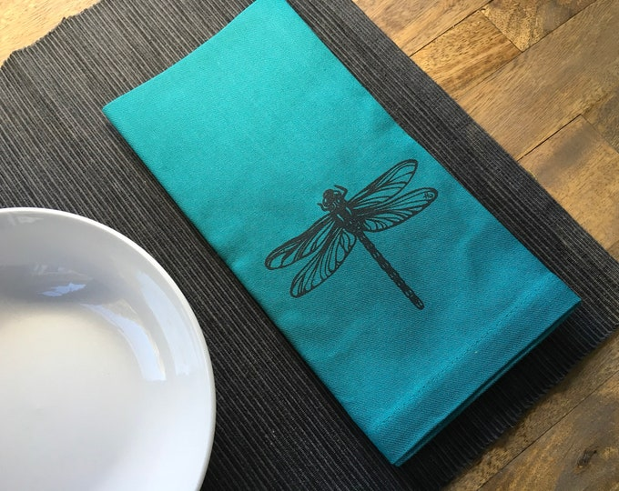 Teal Dragonfly Cotton Napkins
