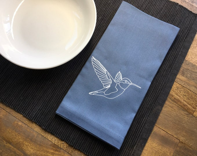 Periwinkle Hummingbird Cotton Napkins