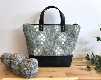 Waxed Canvas Project Bag - Screen Printed - Lily of the Valley Print - Yarn Bag - May Birth Month Flower