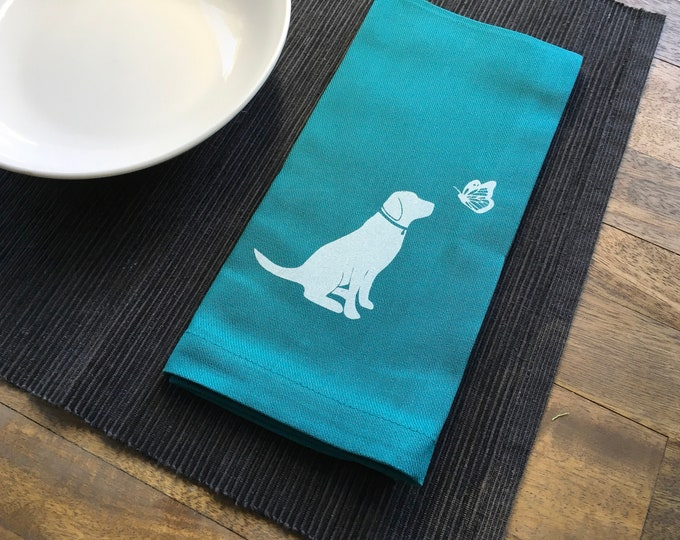 Teal Dog and Butterfly Cotton Napkins